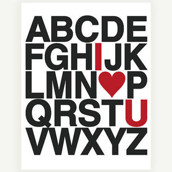 I Love You Alphabet Art Print in Custom Colors 11x14