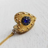Vintage Blue Rhinestone Heart Locket Necklace - Gold Filled Art Deco Repousse Jewelry / Raised Filigree