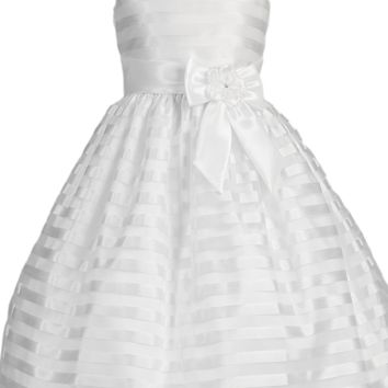Taffeta Striped Organza Overlay White First Holy Communion Dress (Girls Size 6 to 12)