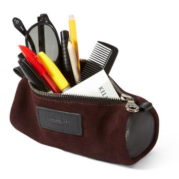 BURGUNDY ITALIAN OIL SUEDE : PENCIL CASE - VIEW ALL