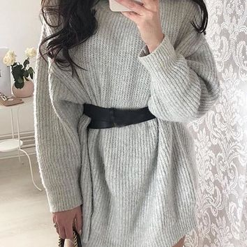 New Light Grey High Neck Long Sleeve Casual Pullover Sweater