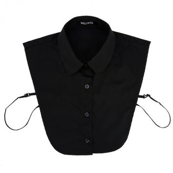 Stylish New Women Half Blouse Shirt Tops Blouse Tie Detachable Turn-down Collar