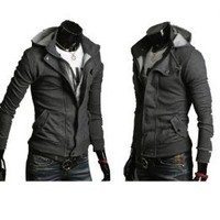 Mens Casual Buckle Top Designed Hoodie