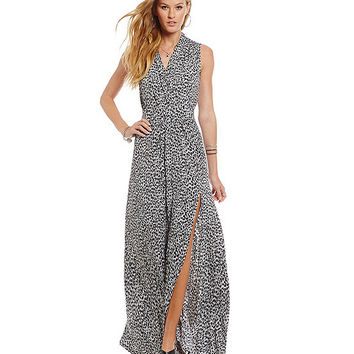 MICHAEL Michael Kors Abstract Jaguar Print Side Slit Maxi Dress | Dillards