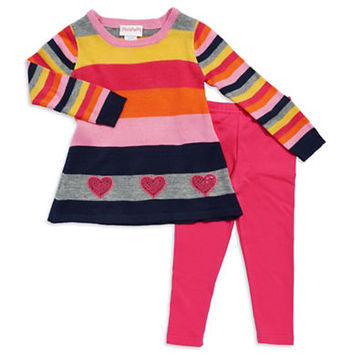 Flapdoodles Girls 2-6x Striped Sweater Set