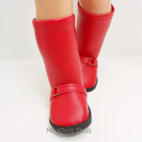 "Red boots for 18"" dolls and American Girl dolls"
