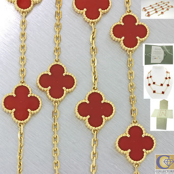 Van Cleef & Arpels Alhambra 20 Motifs 18k Yellow Gold Necklace w/Box Papers $165
