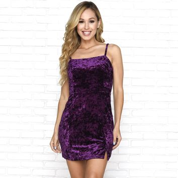 Vineyard Get Away Velour Dress in Purple
