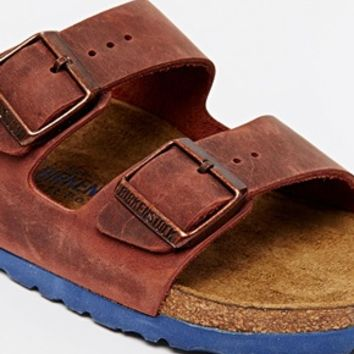 Birkenstock Arizona Henna Leather Flat Sandals