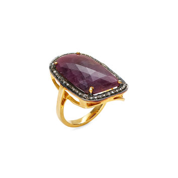 Shay Women's Pave Diamond & Ruby Slice Cocktail Ring - Red - Size 6.25