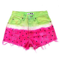 Remade Vintage Watermelon Pink Green Levis Denim Ripped Frayed Shorts