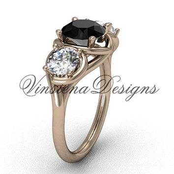 14kt rose gold Three stone engagement ring, Black Diamond VD10014