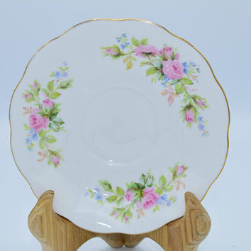 Royal Albert Moss Rose Floral Saucer Vintage Fine China Made in England Pink Blue Floral Motif English China Replacement China Saucer