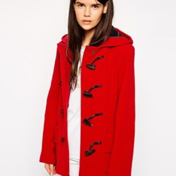 Gloverall Short Duffle Coat - Scarlet