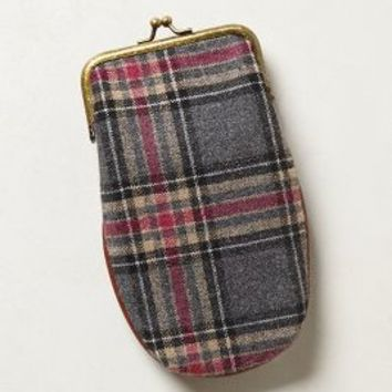 Tweedy Plaid Glasses Case by Anthropologie Pink One Size Jewelry