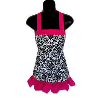 Black and White Damask Kids Apron // Size 4-6-8-Young Adult