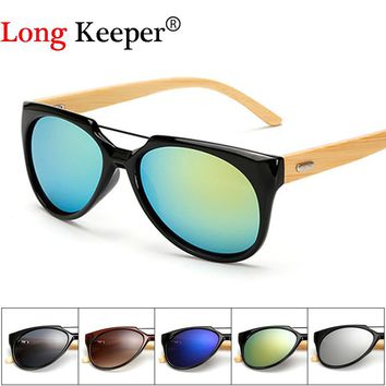 Original Wooden Bamboo Sunglasses Men Women Mirrored UV400 Sun Glasses Real Wood Shades Gold Blue