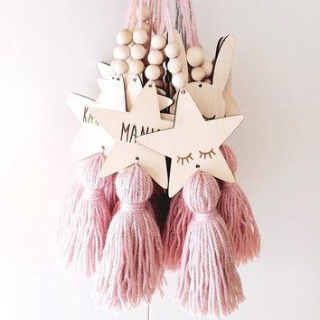 Nordic Style Cute Star Shape Wooden Beads Tassel Pendant Kids Room Decor Wall Hanging Ornament