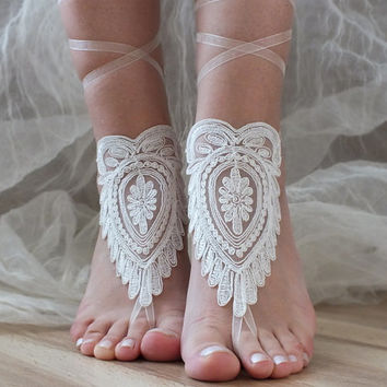 beach wedding barefoot sandals ivory lace sandals, , bridal barefoot,  sandals