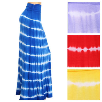 In Style TieDye Red,Blue,Yellow or Lavander Maxi Skirt