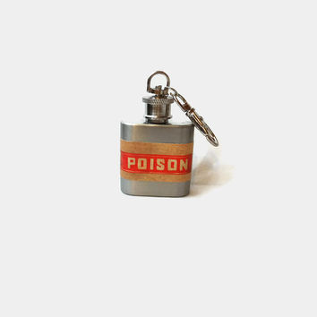 Stainless Steel Hip Flask with red poison caution wrap - 4oz 6oz 2oz 1oz