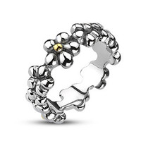 Flower Child - FINAL SALE Add Abundance to Your Style Floral Design Stainless Steel Shiny Ring