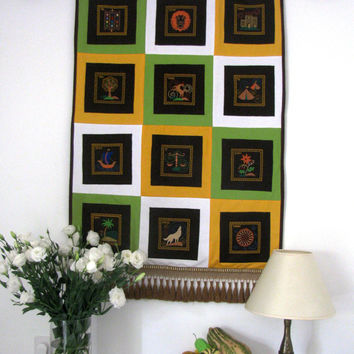 Patchwork quilt, Judaica wall art, Textile wall hanging, Quilt embroidery Block ,Felt ornament, Wall Hanging rag, 12 Tribes, Original Israel