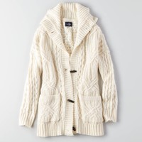 AEO Cable Knit Toggle Cardigan