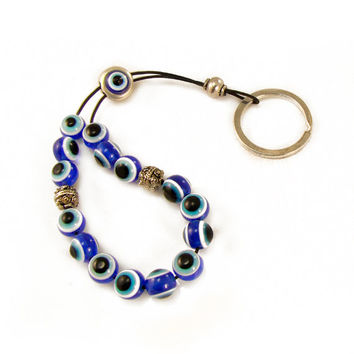 Evil Eye Keychain, Komboloi, Worry Beads, Blue Evil Eye Beads, Greek Mati, Hamsa, Nazar, Evil Eye Keyring