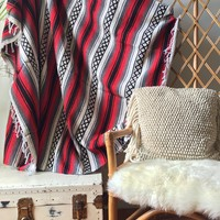 Red, White & Black Striped Mexican Aztec Falsa Blanket - Cabin, Festival, beach, Wall Hanging