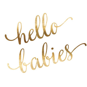 Hello Babies Print / Gold Foil Twins Nursery Print / Twin Nursery Decor / Twin Girls / Twin Boys / Pink and Blue / Triplets Twins Wall Art