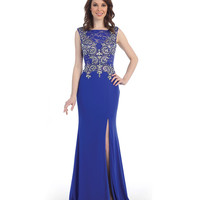 Royal Cap Sleeve Beaded Bodice High Slit Dress 2015 Prom Dresses