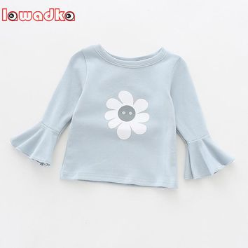 Lawadka Lotus Leaf Sleeve Baby Girl T-shirt  Newborn Solid Sun Floral Print Baby Girls T Shirt  Infant Baby Girl Clothes