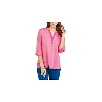 Faded Glory Women's Chambray Split-Neck Tunic, Pink, Medium (8-10)
