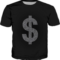 Faux silver and black swirls doodles Dollar Classic T-Shirt black