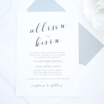 Mint Calligraphy Wedding Invitation - SAMPLE SET
