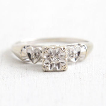 Vintage 14k White Gold Diamond Ring - 1940s Size 6 3/4 Illusion Head Heart Shoulders Engagement Wedding Fine Jewelry