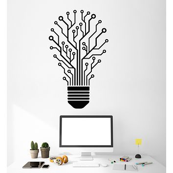 Vinyl Wall Decal Chip Light Bulb Idea Office Decor Stickers (3343ig)