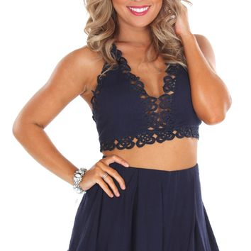 Cutout Crochet Shorts Navy