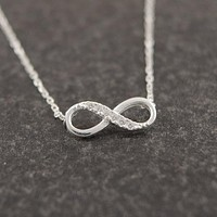 Shuangshuo Infinity Crystal Pendant Necklaces for Women Choker