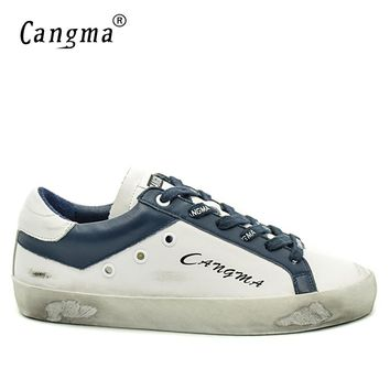 CANGMA Designer Brand Men Superstar Shoes Casual Luxury Handmade Genuine Leather White Bass Breathable Male Shoes Plus Size