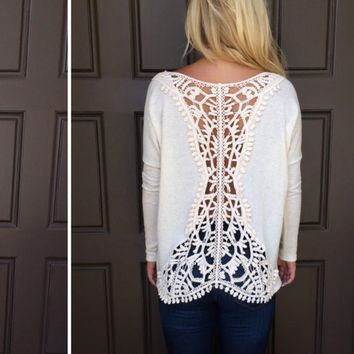 Back Lace Hollow Out Patchwork Long Sleeve T-Shirt