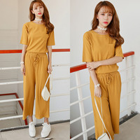 Yellow Knitted Top Drawstring Pants Sets