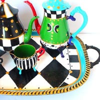 Silver Tea Set Alice in Wonderland Mad Hatter Tea Party Silver Tea Service Victorian Teapot Silver Ornate Tea pot Set Ornate Silver Tray