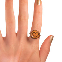 Valentine's Heart Ring, Wooden Ring, Wood Slice Ring, Wood Burned Ring, Pyrography, Natural Wood Grain Ring, Natural Wood Ring