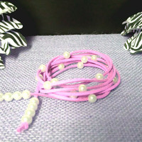 6 Wrap Boho Pink Suede Leather White Pearl Multi Wrap Bracelet, Lariat Choker Necklace, Anklet - Pick COLOR / LENGTH Usa Seller Chic, gift