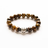 TIGER EYE BRACELETS Natural Stone Bracelet Shiny Gem Stone Yellow Brown 10 mm Bead Size