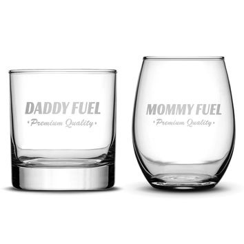 Set of 2 Whiskey/Wine Glasses for Mom and Dad, Deep Etched