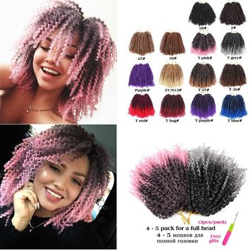 Leeons Ombre Marley Braid Hair Kanekalon  Mali Bob Crochet Braids Hair Extension Afro Hair 8 Inch 14 Colors Availabel 3Pcs/Pack