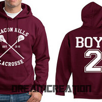 BOYD 2 Beacon Hills Lacrosse Wolf 2 Number  Teen Unisex Hoodie - Tumblr Text - Part 1